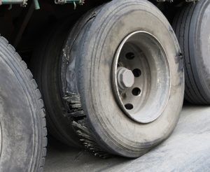 truck with damaged tire